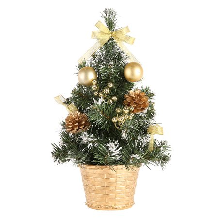 SunshineLLC Home 15.8 inch Mini Desk Top Table Top Decorated Christmas Tree with Bows & Baubles Ornaments Decorations, Gold - Office Desk Christmas Decorations