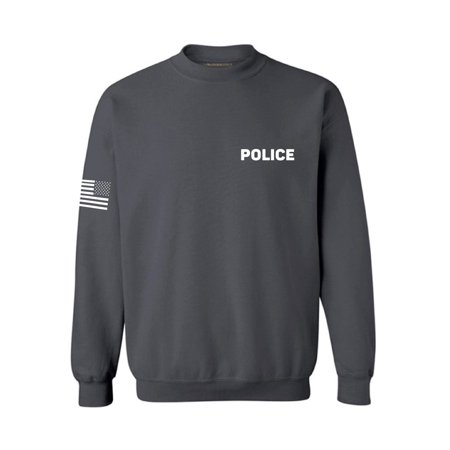 Awkward Styles Police Sweatshirt with Flag on Sleeve Military Police Sweater Law Enforcement Cop Duty Style Sweatshirt Duty Police Sweater Police Officer Gifts Cop Sweater Police Gifts for Him and Her Officer Adult Sweatshirt