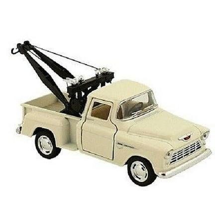 1955 Model - New Kinsmart 1955 Chevy 3100 Stepside Tow Truck Diecast Model Toy 1:32 Cream