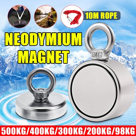 Round Magnet Eyebolt Ring 80/98/200/300/500/600KG Super Strong Pulling Force Neodymium Treasure Finder Salvage Fishing Lifting Recovery Metal Detector Magnetic Hanger+ 10M/20M Rope