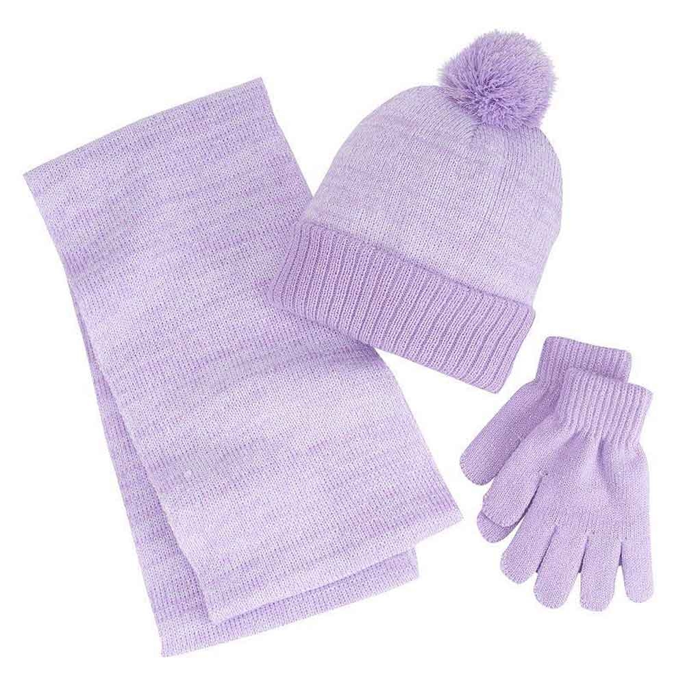 Knitted Hat Scarf /& Gloves Set Purple One Size Berkshire Girls 3-Pc