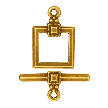 22K Gold Plated Pewter Deco Square Toggle Clasp 12.5mm (1) (Square Toggle Clasp)