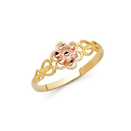 Fancy Flower Ring 14k Yellow & Rose Gold Floral Band Polished Diamond Cut Genuine Two Tone 7MM