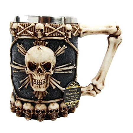 Atlantic Collectibles Large Skeletal Cross Bones Skull Beer Stein Tankard Coffee Cup Drink Mug (Coffee Mug Bone)