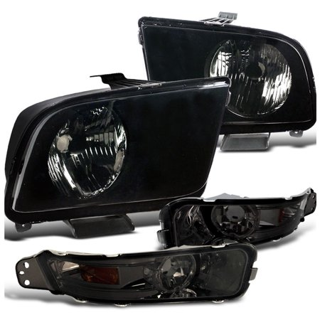 Spec-D Tuning 2005-2009 Ford Mustang Black Headlight W/ Smoke Turn Signal Bumper Lens Lamps (Left + Right) 2005 2006 2007 2008 2009