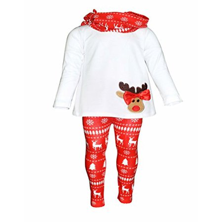 Girls 3 Piece Christmas Reindeer Bow Outfit with Scarf (2t)](Baby Christmas Reindeer Outfit)