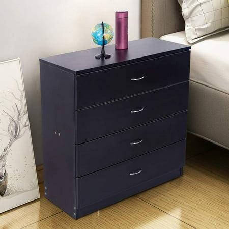 Zimtown 4 Drawers Bedside Table Bedroom Nightstand Storage Organizer Wooden  Furniture Black
