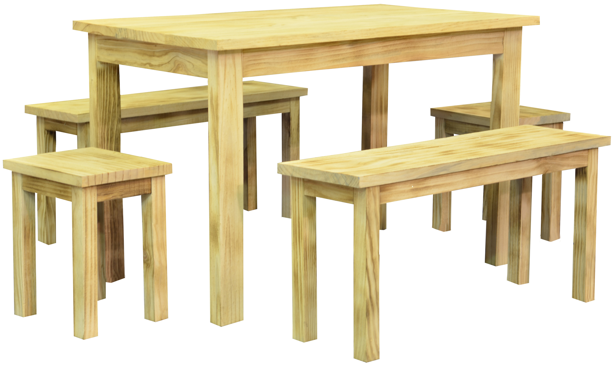 5pc Wooden Rectangular Dining Set With Table, Benches, Stools   Natural Wood