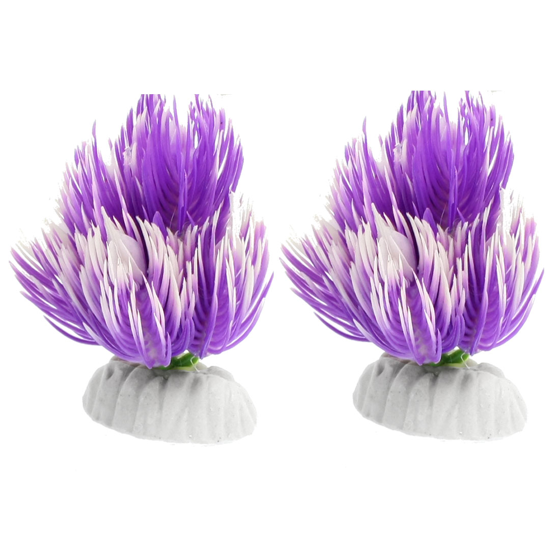 Aquarium Ornament Decoration Purple White Plastic Plant Grass 2 Pcs