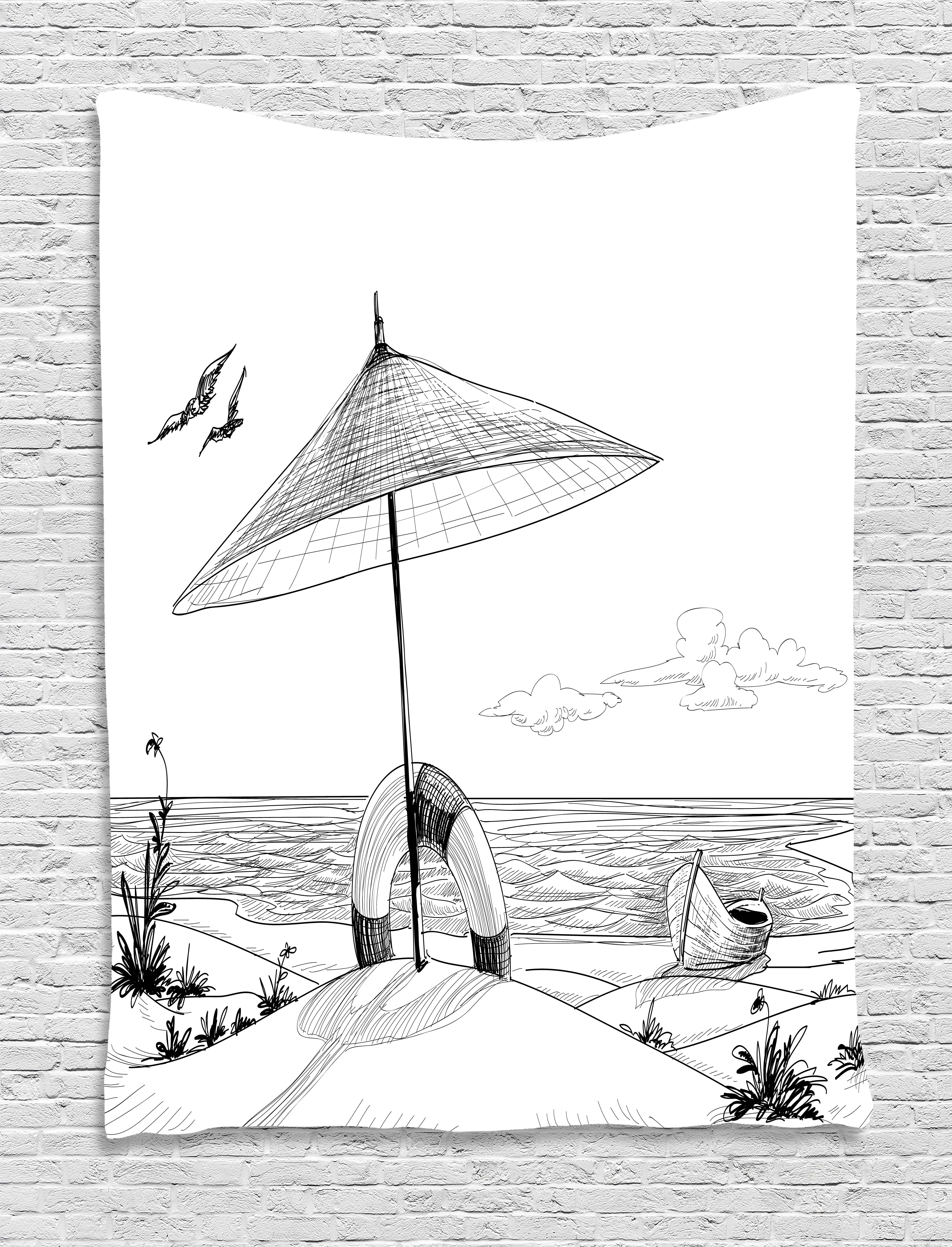 Beach tapestry doodle style sketch pattern monochrome illustration ocean and boat pencil drawing wall hanging for bedroom living room dorm decor