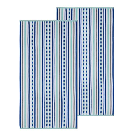 Impressions Stitch Stripe Textured Oversized Cotton Beach Towel (Set of 2)