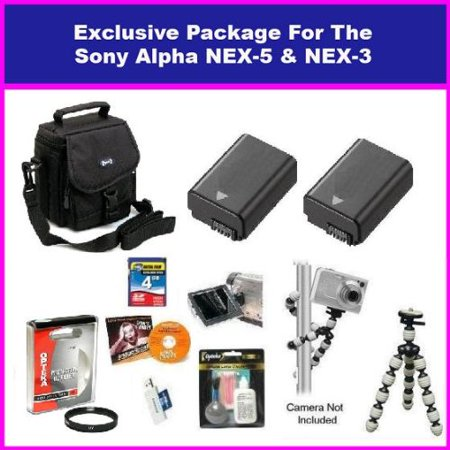 Best Value kit for Sony Alpha NEX-3 & Sony Alpha NEX-5 Package with 4GB Memory Card, 2 Batteries, 49MM Protective UV Filter, Exclusive Carrying Case for Nex Series, Gripster Flexible Tripod +