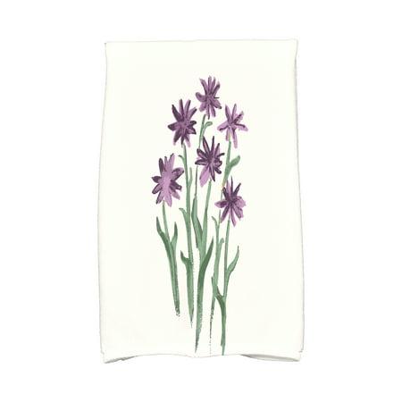 Simply Daisy, 16 x 25 inch, Daffodils Kitchen Towel, Purple ()