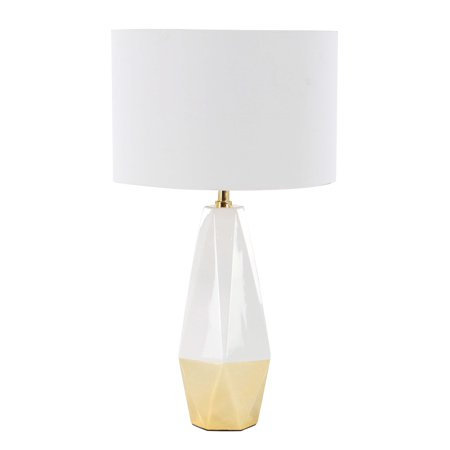 Ceramic Metal Halide Lamp (Decmode 27 Inch Modern Ceramic And Metal Faceted Pear-Shaped White And Gold Table Lamp, White)