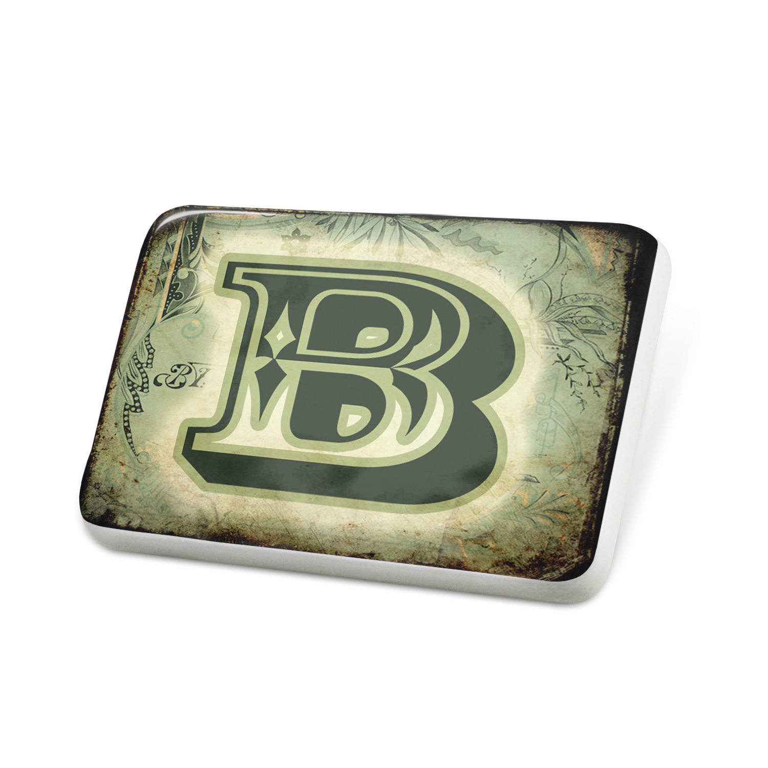 Porcelein Pin B Vintage circus characters, old green letter Lapel Badge – NEONBLOND