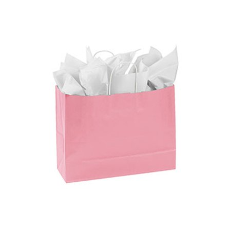 "Large Pink Paper Shopping Bags - 16""L x 6""D x 12 ½""H - Case of 25 - Pink Paper Bags"