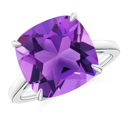 February Birthstone Ring - Vintage Inspired Solitaire Cushion Amethyst Cocktail Ring in 14K White Gold (12mm Amethyst) - SR1079AM-WG-AAA-12-9