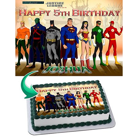 Young Justice Edible Cake Image Topper Personalized Icing Sugar Paper A4 Sheet Edible Frosting Photo Cake 1/4 Edible Image for cake](Justice League Cake)
