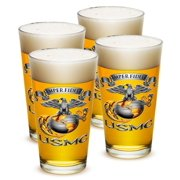 US Marines 16 oz. Pint Glass Usmc-Semper Fidelis (Set of 4) by Erazorbits