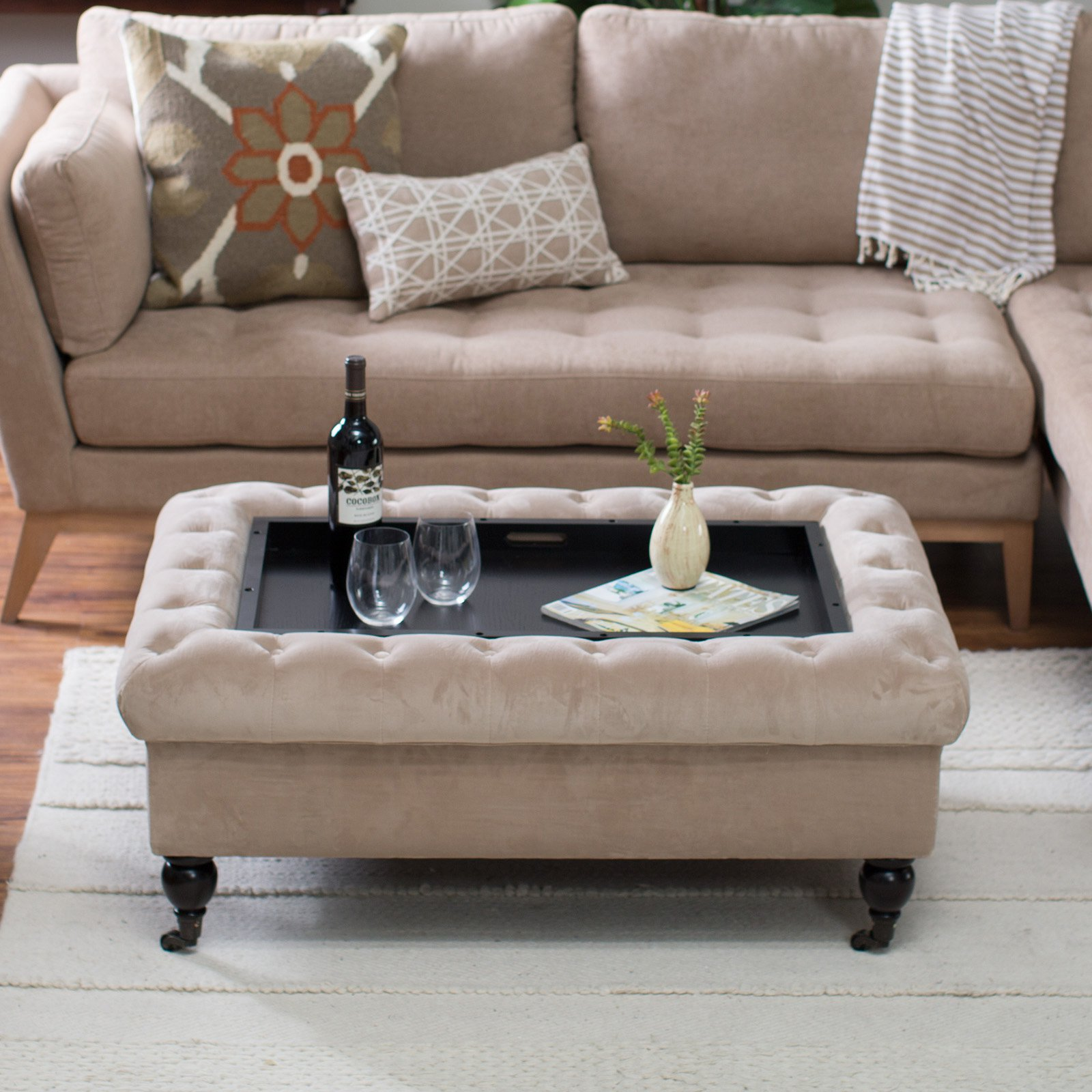- Belham Living Sandrine Tufted Storage Ottoman With Tray Table