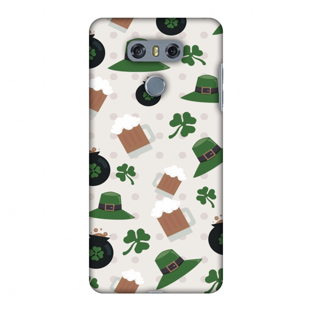 LG G6 Case, LG G6 Plus Case - Shamrock, hats, beer and potluck - Forest green,Hard Plastic Back Cover, Slim Profile Cute Printed Designer Snap on Case with Screen Cleaning Kit