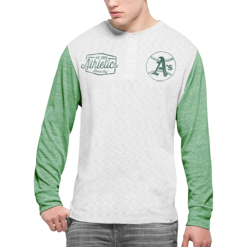 Oakland Athletics '47 Tri-State Tri-Blend Henley Long Sleeve T-Shirt - Gray