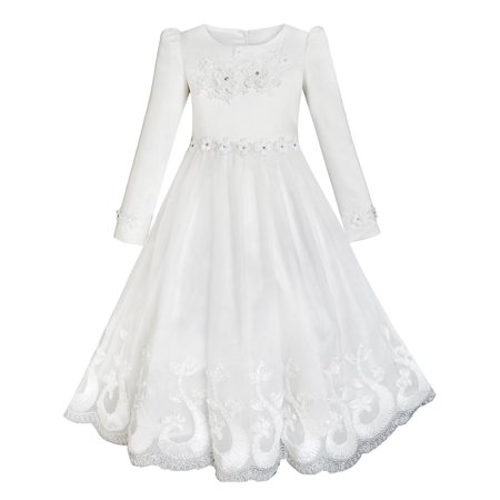 Flower Girls Dress Lace Hem Wedding First Communion 6](First Communion Headpieces)