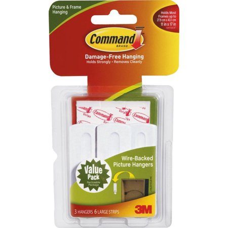 Command Wire-Backed Picture Hanging Hooks, White, Large 3 Hangers, 6 Strips/Pack