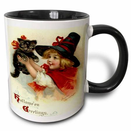 3dRose Halloween Greetings - cat, cute, girl, costume, halloween, trick or treat, witch - Two Tone Black Mug, 11-ounce](Cute Halloween Treats Classroom)