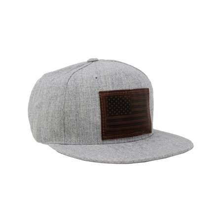 Baseball Cap--Flat Brim Hat, Grey Twill American Flag Patch