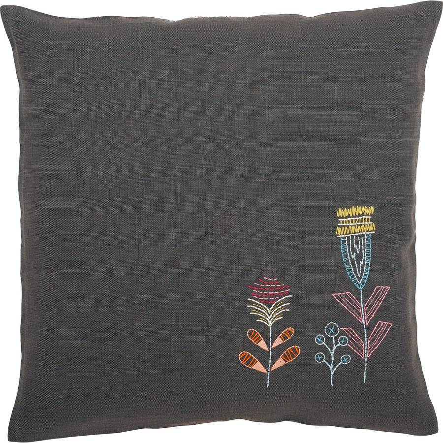 """Stylized Flowers I Cushion Stamped Embroidery Kit, 16"""" x 16"""""""