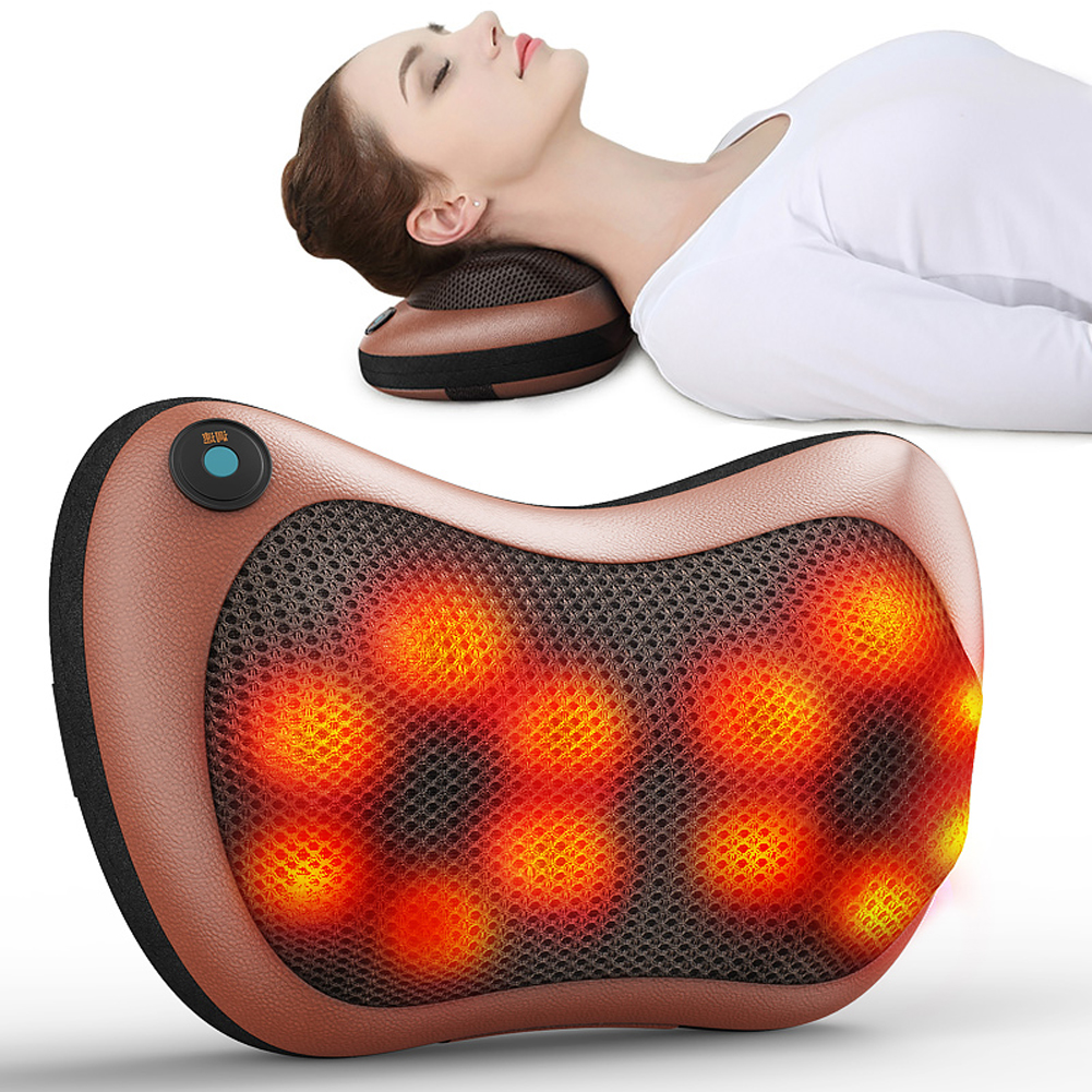 Tbest Electronic Heat Massage Pillow Deep Kneading Massager Cushion Lumbar Neck Back Shoulder Relax,Massage Pillow, Neck Massager