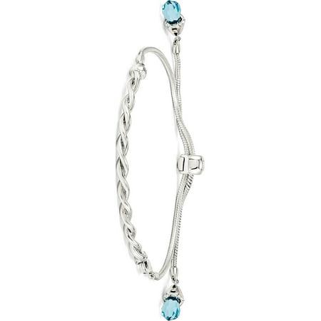 Swarovski Blue Bracelets - 925 Sterling Silver Reflections Blue Swarovski Crystal Adj. Bracelet