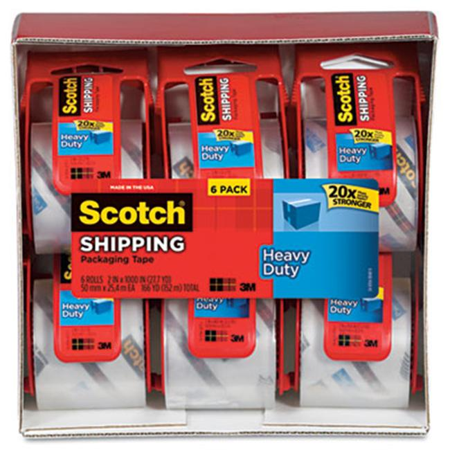 3M 1456 Sure Start Packaging Tape  2'' x 22.2 yards  2'' Core  Clear  6/Pack
