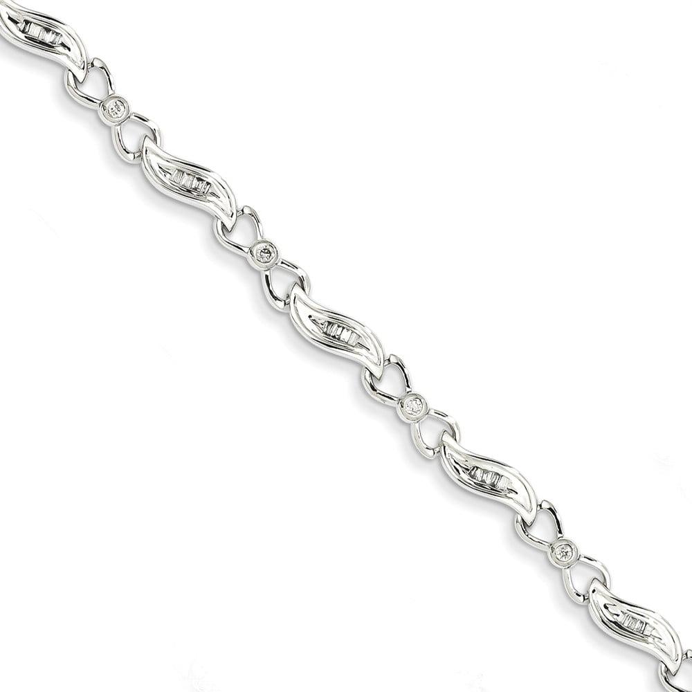 14K White Gold Diamond Fancy Bracelet 7inch by Diamond2Deal