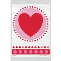 Plastic Radiant Hearts Valentine's Day Treat Bags, 50ct
