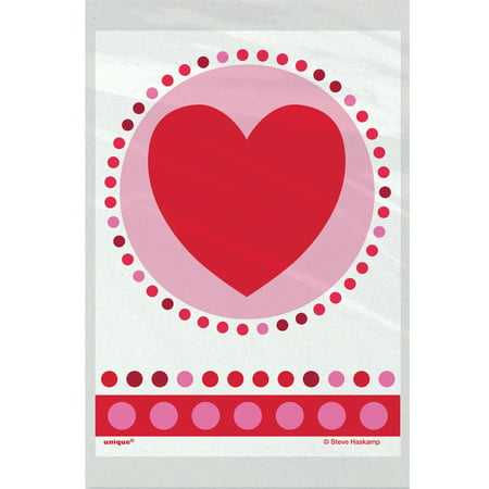 Red Treat Bags (Plastic Radiant Hearts Valentine's Day Treat Bags,)