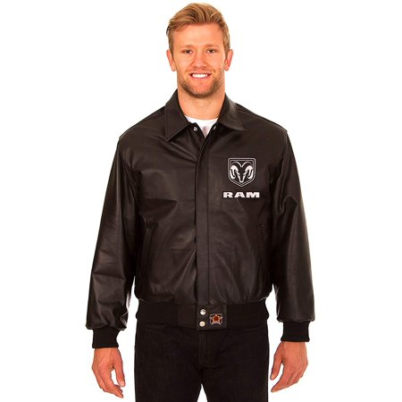 JH Design Dodge RAM Men's Black Leather Bomber Jacket with Embroidered Applique Logos