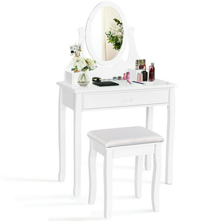 Mirrored Makeup Vanity Set Stool Table