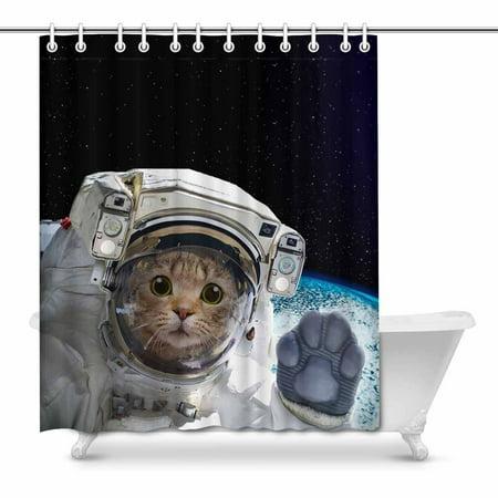 MKHERT Funny Cat Astronaut in Space Decor Waterproof ...