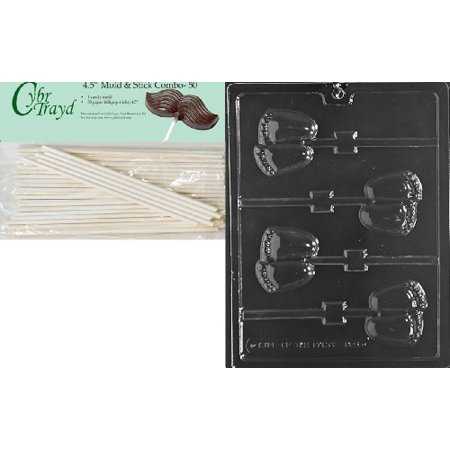 Cybrtrayd 45St50-B065 Chubby Baby Feet Lolly Chocolate Candy Mold with 50-Pack 4.5-Inch Lollipop Sticks
