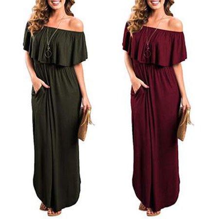 Women's Off Shoulder Summer Casual Long Ruffle Beach Maxi Dress with Pockets