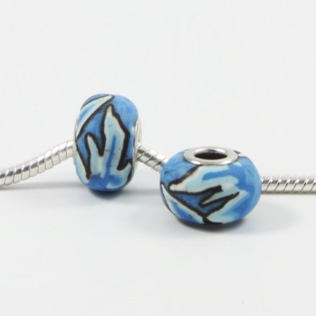 3 Beads - Blue Flames Flower Polymer Clay European Bead Charm E0398](Polymer Charms)