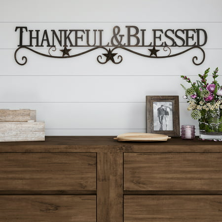 Metal Cutout-Thankful And Blessed Decorative Wall Sign-3D Word Art Home Accent Decor-Modern Rustic or Vintage Farmhouse Style by Lavish Home ()