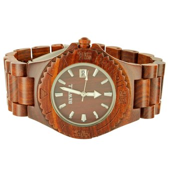 Mens Brand New WOOD WATCH Bewell Red Sandalwood Wooden Wr...