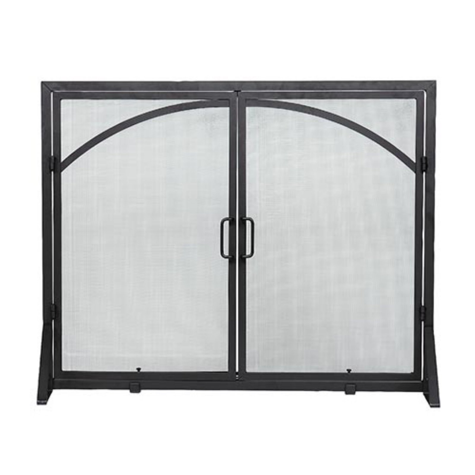 Minuteman International Black Arch Top Classic Flat Fireplace Screen with Doors