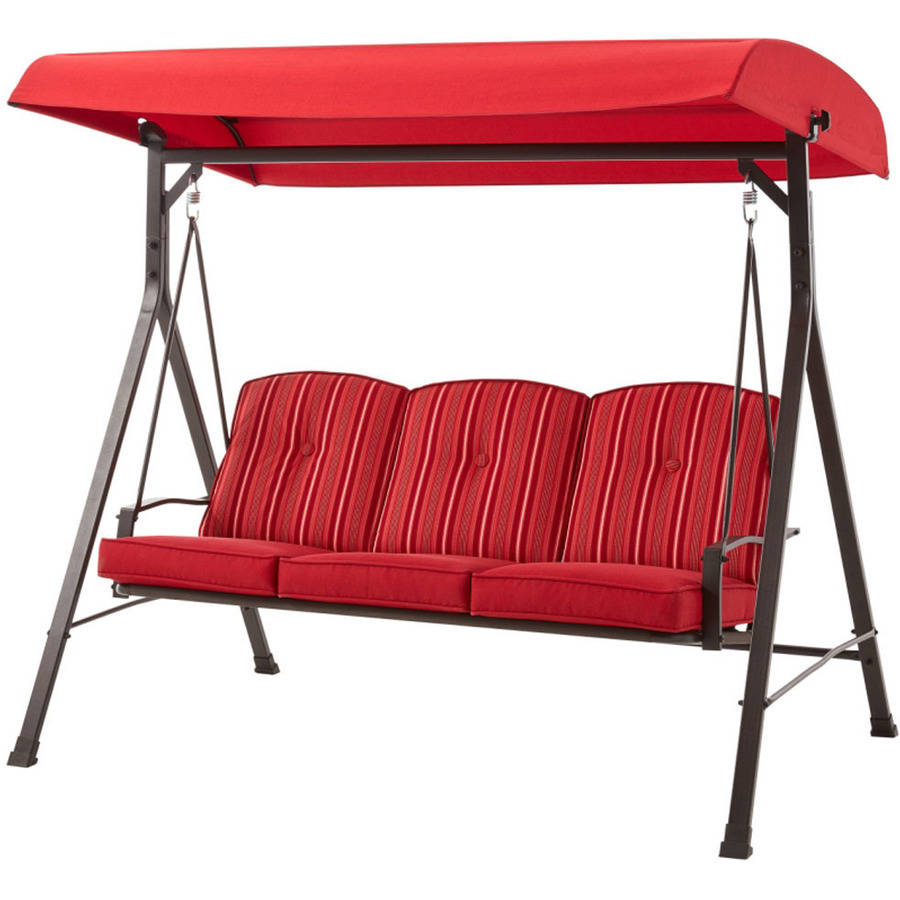 Swing W/ Canopy 3 Seat Cushion Red Outdoor Patio Porch Garden Yard  Furniture New