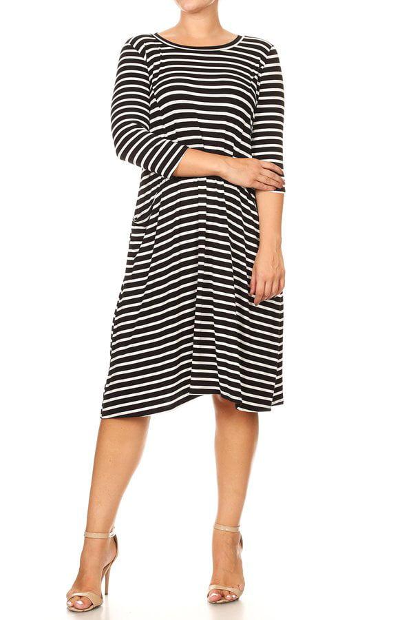 Women's Plus 3/4 Sleeves Stripe Dress