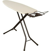 Household Essentials Top Extra Wide 4-Leg Ironing Board with Natural Cotton Cover and Iron Holder, Bronze