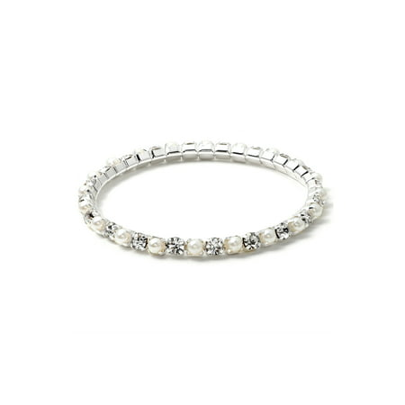 Silver White Pearl Stretch Bracelet